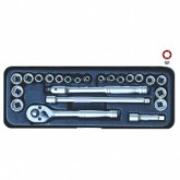 23 Pc 1/4'' Sq. Dr. 6Pt Socket Set - Metric & SAE